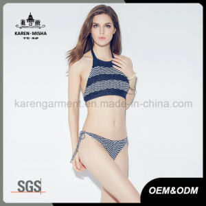 Ladies Halter Boho Striped Knitted Bikini Swimming Suit pictures & photos