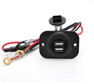 Boat Marine Carvans 12V Waterproof Power Outlet Cigarette Lighter Socket 2.1A Dual USB Charger Panel Flush Mount for Benelli Apr pictures & photos