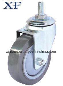 Threaded Stem PU Wheel Caster (Gray) (Flat Surface) pictures & photos