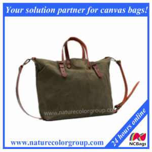 Waxed Canvas Handbag with Leather pictures & photos