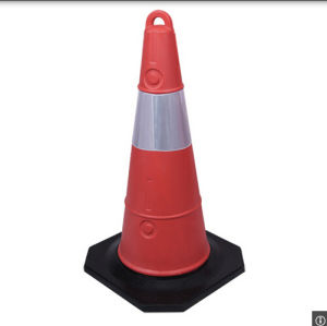 76cm Reflective Soft PVC Traffic Safety Cone with Black Base pictures & photos