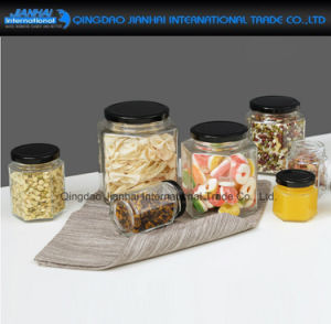 Hexagonal Household Container Glass Jar for Food Storage pictures & photos