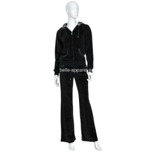 Fashion Women′s Black Velour Jogging Suits Tracksuits pictures & photos