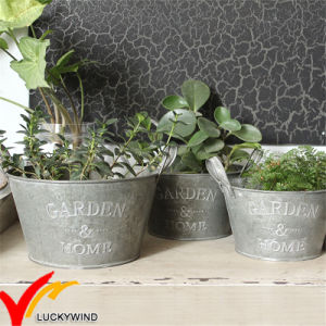 Wholesales Small Rustic Vintage Style Handmade Metal Tin Garden Flower Pot pictures & photos