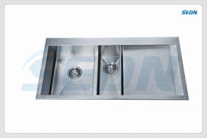 Handmade Double Bowl Stainless Steel Sinks with Drainer (SB4004) pictures & photos