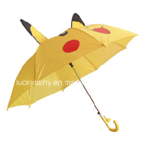 Straight Animal Ear Design Auo Open Umbrella with Cartoon Printing
