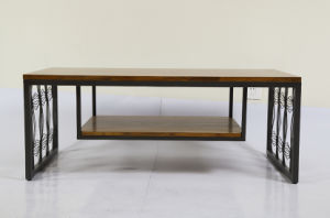 Two Layers Teak Wood Coffee Table with Iron Base (TCT-003) pictures & photos