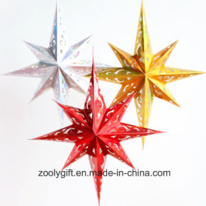 Laser Card Paper Set of Hanging Star Party Decoration / Hang Paper Christmas Holiday Octagonal Star Lanterns pictures & photos