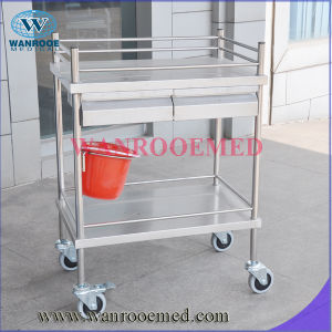 Stainless Steel Dressing Trolley with Double Drawer Bucket pictures & photos