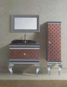 Silver on Floor Modern Mirrored Stainless Steel Bathroom Cabinet Golden (JN-88820) pictures & photos