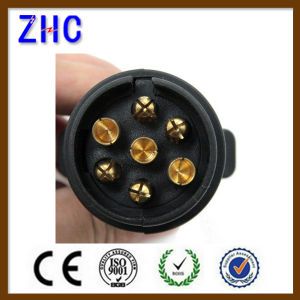 European Ce PVC Plastic 12V 24V 10A 7pin 13pin Brass Power Connecting Male and Female Vehicle Trailer Connector pictures & photos