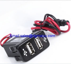 Universal Double Dual 2-Port USB in Car Socket Adapter 12V-24V for Toyota Vigo pictures & photos