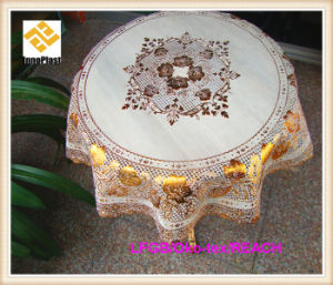 PVC Golden Lace Round Ready Made Table Cloth Factory pictures & photos