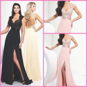 Cap Sleeves Pageant Gown Backless Chiffon Prom Evening Dresses M116706 pictures & photos