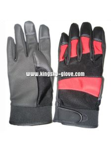 PU Reinforced Palm Terry Knit Mechanic Work Glove-7403 pictures & photos
