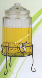 5.8L High White Glass Beverage Dispenser with Glass Lid and Metal Stand pictures & photos