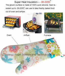 Hot Sale Thick and Long Silicone Glove for Microwave Oven Grill Sg18 pictures & photos