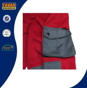 Grey Red 300 GSM Cotton Drill Heavy-Duty Work Pant Durable Men Cargo Work Pants pictures & photos
