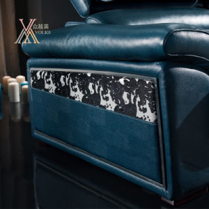 Blue Leather Sofa with Adjustable Headrest (862) pictures & photos