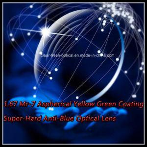 1.67 Mr-7 Aspherical Yellow Green Coating Super-Hard Anti-Blue Optical Lens