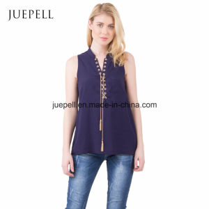 Fashion Casual Blue Sleeveless Chiffon Lady Blouse for Women pictures & photos