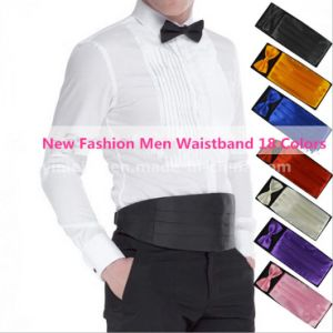 New Gentle Men Dress Adjustable Polyester Silk Waist Cummerbund Bowtie Hanky Set pictures & photos