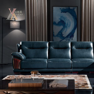 Blue Leather Sofa with Chaise (839) pictures & photos