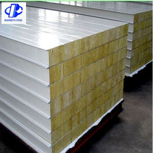 Galvanized Steel Rock Wool Sandwich Wall Panel pictures & photos