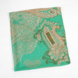 Fashion Autumn Long Polyester Voile Women Green Scarf pictures & photos