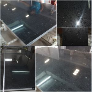 20mm Sparklig Black Quartz Stone Slab for Kitchen Top pictures & photos