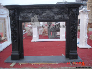 Black Marble Elephant Carving Fireplace Mantel for Indoor Decoration pictures & photos