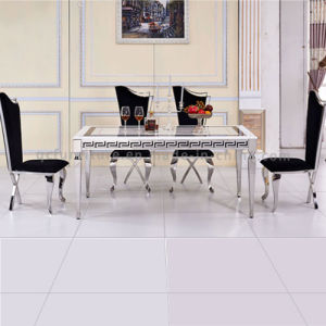 Simple Modern Rectangle 6 Seater Marble Top Metal Dining Table Set pictures & photos