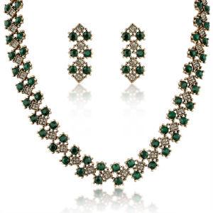 Antique Vintage Style Dubai Gold Olivine Stone Woman Jewelry Set pictures & photos
