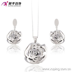 Fashion Rhoium Folwer-Shaped Stainless Steel Jewelry Set -63655 pictures & photos