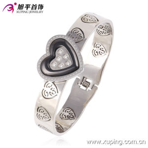 Fashion Xuping Elegant Rhodium Zircon Hear-Shaped Engraved Pattern Stainless Steel Jewelry Bangle Watch 51447 pictures & photos