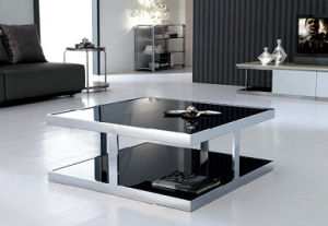 Rectange Black Glass Coffee Table Stainless Steel Dining Furniture pictures & photos