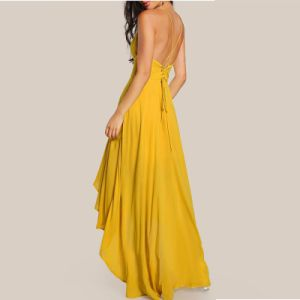Backless A-Line Party Cocktail Dresses Yellow Chiffon Hi-Low Evening Dress Y2009 pictures & photos