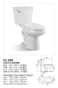 Good Quality Sanitary Ware Two Piece Ceramic Toilets for Bathroom (CL-028) pictures & photos