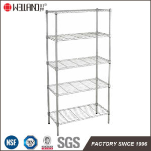 DIY 4 Tiers Adjsutable Light Duty Chrome Metal Wire Book Rack for Office 900*450*1800 pictures & photos