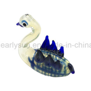 Glass Write Swan Goose Hand Pipe with W Wings and Blue Stripes (ES-HP-149) pictures & photos