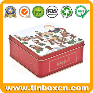 Square Gift Metal Tin Box with Hinge, Food Tinplate Box pictures & photos