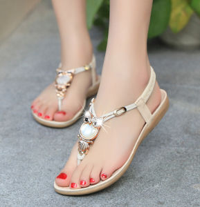 New Latest Ladies Sandals Designs Summer Open Toe Rhinestone Lady Bohemia Sandals Flat Women Sandals pictures & photos