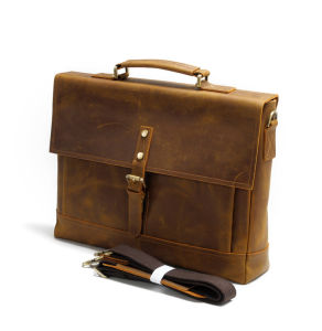 Vintage Brown Leather Document Portfolio Laptop Bag Briefcase pictures & photos