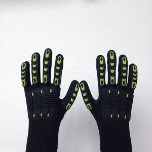 Sandy Nitrile Finished Poly/Lycra Safety Gloves, Anti-Flame TPR Sewing pictures & photos