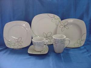 36PCS Porcelain Dinner Plate, Cup with Saucer Set, Mug, Square Dinnerware Set