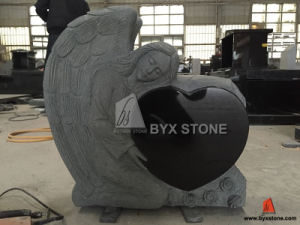 Shanxi Black Granite American Angel Carved Monument with Heart pictures & photos