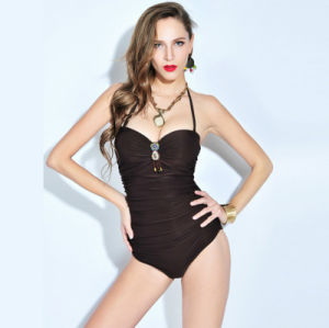 Factory New Model Overalls Briefs Pure Color Black Slim Cover Belly Swimwear pictures & photos