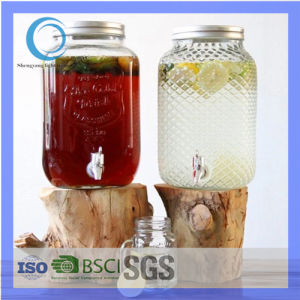 Glass Drinks Dispenser with Tap and Metal Lid/Glass Beverage Dispenser/Glass Juice Dispenser pictures & photos