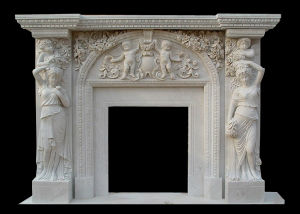 Angel Carving Stone Fireplace pictures & photos