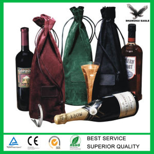 Custom Logo Printed Drawstring Velvet Wine Bag pictures & photos